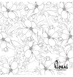 Black and white apple blossoms vector