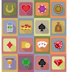 casino flat icons 19 vector image vector image