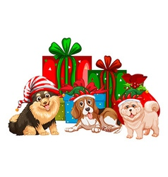 Christmas theme with dogs and presents vector