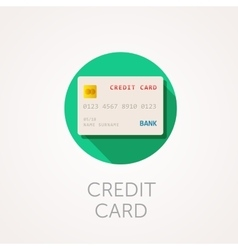 Credit card icon flat design style with long vector