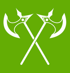crossed battle axes icon green vector image
