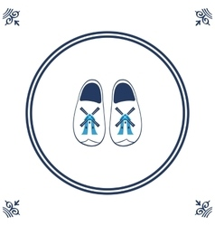 Dutch tile with cloggs - typical dutch shoes vector