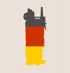 Factory icon and grunge brush germany flag vector