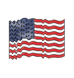flag united states of america with several wave in vector image