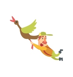 Funny childish hunter character with moustache vector