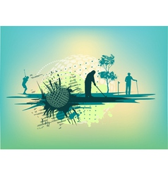 Golf Silhouettes in cyan background vector image vector image