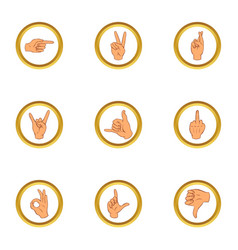 Hand gesture for communication icons set vector