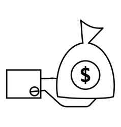 Hand holding money icon outline style vector image vector image