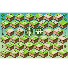 Isometric roads on green city park vector