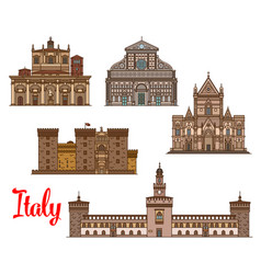 italian architecture travel landmarks icon set vector image vector image