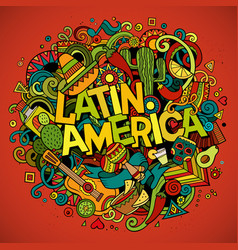 latin america cartoon hand drawn doodle vector image
