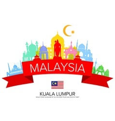 Malaysia travel landmarks and flag vector