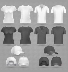 Male and female black white t-shirt and baseball vector