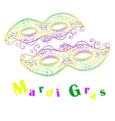 mardi gras decorative celebratory two masks vector image vector image