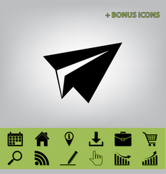 Paper airplane sign black icon at gray vector