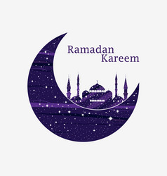 Ramadan kareem mosque and a crescent stars and vector