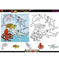 Sea life cartoon coloring page set vector
