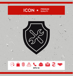 service icon - shield with screwdriver and wrench vector image