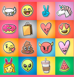Set of colorful emoticons emoji stickers vector