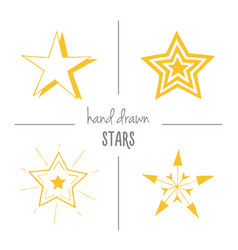 set of yellow hand drawn stars vector image vector image
