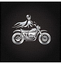 Silver skull in helmet on bike with flames concept vector
