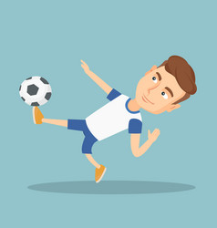 Soccer player kicking a ball vector
