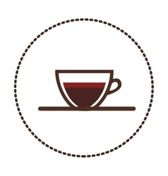 sticker circular shape colorful cup of coffee with vector image