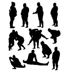 Sumo silhouettes vector