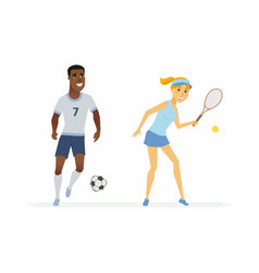 Tennis and football players - cartoon people vector