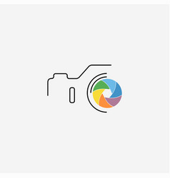 Thin line flat camera icon vector
