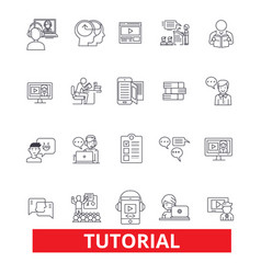 tutorials learning help guidetrainingshowing vector image