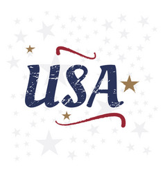 Usa lettering vintage label badge with retro vector