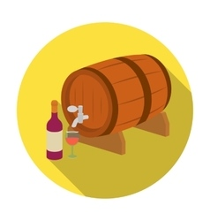 Wooden wine barrel icon in flat style isolated on vector