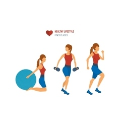Young adult exercising in fitness gym vector