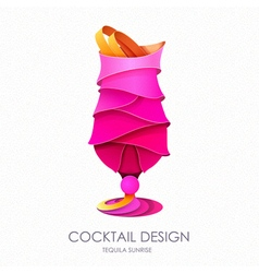 3D cocktail tequila sunrise design vector image