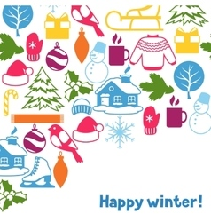 Background with winter objects merry christmas vector