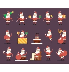 Santa claus cartoon characters poses christmas new vector