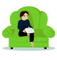 Boy read book on sofa vector