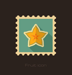 Starfruit carambola carom stamp tropical fruit vector