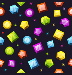 Seamless pattern with colorful gemstones vector