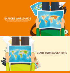 Travel and tourism flat style world earth map vector