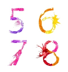 Paint splash font 5678 vector