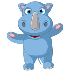 Happy baby rhino cartoon posing vector