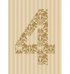 floral font number vector image