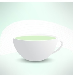 Realistic cup with green tea cafe banner vector