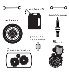 Set of vintage parts for the bike vector