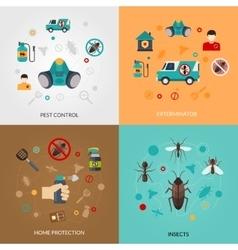 Exterminator Pest Contro 4 Flat Icons vector image