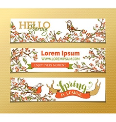 set of horizontal spring banners vector image