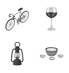 A bicycle a glass of wine and other monochrome vector