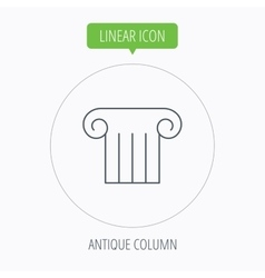 Antique column icon Ancient museum sign vector image